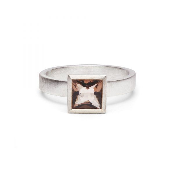 Square smokey quartz bezel set in a sterling silver ring